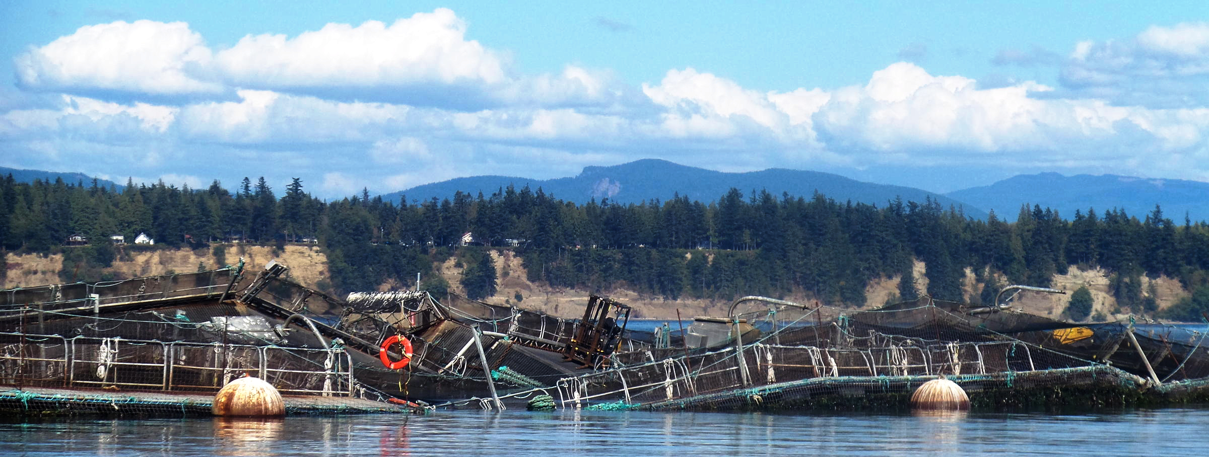 Collapsed salmon pens the day of the accident in 2018.