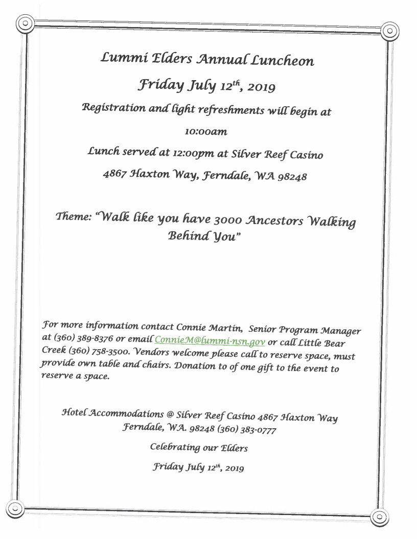2019 Lummi Elder's Luncheon Flyer