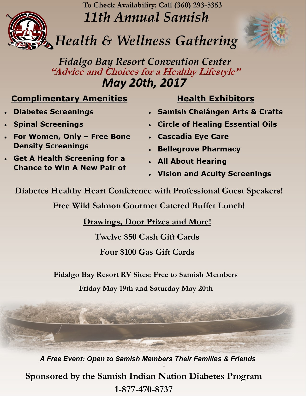 An advertisement flyer listing for the 11th Annual Samish Health & Wellness Gathering at Fidalgo Bay Resort.